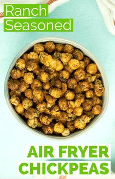 Ranch seasoned air fryer chickpeas are a satisfying, healthy snack. They scratch that itch for flavor, crunch, and salt without the grease of a potato chip. #airfryerchickpeas #recipes #ranch #vegan #crispy Vegetarian Recipes Easy, Delicious Vegan Recipes, Raw Food Recipes, Snack Recipes, Cooking Recipes, Healthy Recipes, Vegetarian Cooking, Breakfast Recipes, Best Vegan Snacks