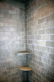 Brazilian Slate Shower- I like the brick look Slate Shower, Bathroom Renos, Bathrooms, Underwater Lights, Corner Shelves, Guest Bath, Kitchen And Bath, Tile Floor, Flooring