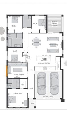 One Story House Plan Sketchup Home Design. It's has 4 bedrooms. One Story House Plan House Plans One Story, One Story Homes, Story House, Small Modern House Plans, Unique Floor Plans, 4 Bedroom House Plans, Duplex House Plans, Indian House Plans, Bungalow House Design