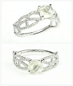 Vine natural rough diamond engagement ring with micro pave diamond accents.