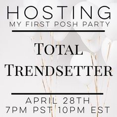 25 MIN  Listing Full ❤️  So excited and honored to announce I will be hosting my first Posh Party. On April 28th please join myself @VirginiaBeck @Emmagwicks and @Inna_Lala as we search for some of the best listings and hidden gems on PoshMark.... Of course we can't do it alone so please COMMENT, TAG and SHARE this post so we can be exposed to as many amazing closets as possible.  ... Looking forward to a fabulous party,    XO -Elisa Other