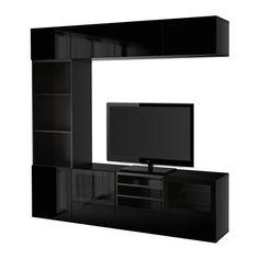 IKEA - BESTÅ, Agenc rangt télé/vitrines, brun-noir/Selsviken verre transparent noir/brillant, glissière tiroir, ouv par pression, , Le tiroir et les portes sont équipés d'un système intégré d'ouverture par pression ce qui évite d'avoir à y fixer des poignées ou des boutons.Le plateau de verre protège la surface du meuble télé et lui donne un aspect brillant.Ce rangement télé offre beaucoup d'espace pour loger vos choses et mai...
