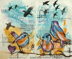 Layers of ink - Bold Birds Art Journal Tutorial, made for Simon Says Stamp Monday Challenge Blog, using stamps and stencils by Dina Wakley and Ranger Tim Holtz Distress Paint.