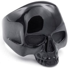 KONOV Mens Stainless Steel Ring, Gothic Alien Skull, Black ($7.99) ❤ liked on Polyvore featuring men's fashion, men's jewelry, men's rings, mens wide band rings, mens stainless steel skull rings, mens skull rings, mens rings and mens gothic rings
