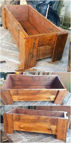 This is an amazing piece creation of the wood pallet planter box piece work in i… - Pallet Projects Wood Pallet Planters, Diy Planter Box, Diy Planters, Wooden Pallets, Garden Pallet, Outdoor Pallet, Salvaged Wood, Pallet Wood, Pallet Pergola