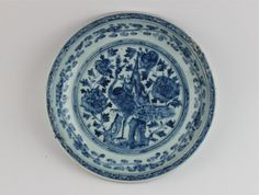 B/W Dish with Peacock Design. Ming Dynasty Hongzhi Period.
