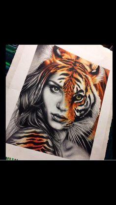 Half tiger face