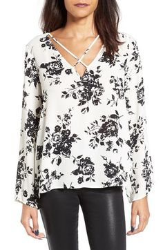 Free shipping and returns on Lush Cross Front Blouse at Nordstrom.com. Slender straps bridge the deep V-neckline of a beautifully flowy blouse, adding a modern element to the classic, wear-with-everything look.