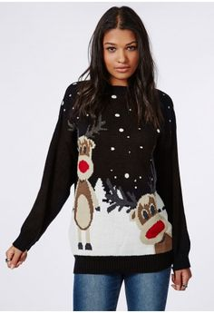 Get rad with Rudolph and take on the Christmas fun in this reindeer novelty sweater. Feel the Christmas vibes all around when you don this awesome black knit. Team with a pair of skinny's, ankle boots and a lotta good cheer.  Approx lengt...