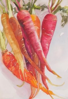 """Bunch of Carrots"" - Kay Smith, watercolor, 2015 {vegetable still life art painting Watercolor Fruit, Watercolor Paintings, Watercolors, Vegetable Painting, Vegetable Drawing, Cuisine Diverse, Fruit Painting, Food Art Painting, Still Life Art"
