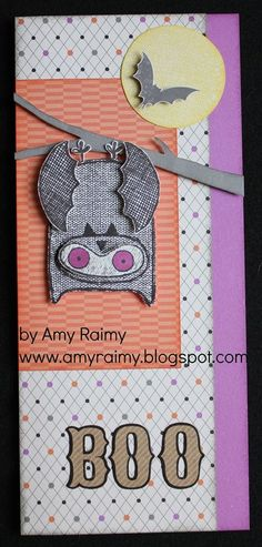 CTMH What a Hoot August 2014 SOM and Scaredy  Cat paper - Bat card
