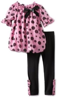 Little Lass Baby-Girls Infant 2 Piece Dot Bubble Dress Legging Set, Pink, 18 Months Little Girl Dresses, Girls Dresses, Kids Outfits, Cute Outfits, Stylish Kids, Cute Baby Clothes, Dresses With Leggings, Kids Fashion, Baby Girls