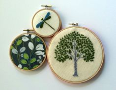 Tree. Leaves. Dragonfly. hand embroidered. home decor. hoop art. wall decoration. spring green. aqua. gray. botanical. nature. mlmxoxo