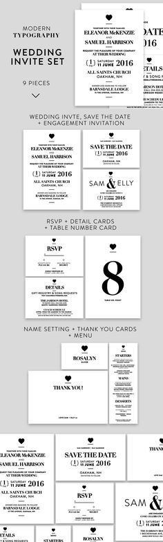Modern Typography Wedding Invite Set by Wednesday Designs on Christmas Invitations, Graduation Invitations, Printable Invitations, Invitation Templates, Invitation Cards, Invites, Binder Templates, Sign Templates, Wedding Card Templates