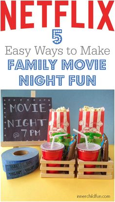 Ideas to make family movie night fun and extra special without leaving your home. Great ways to create memories together! fun family Make Family Movie Night Fun - 5 Ideas - Inner Child Fun Family Movie Night, Family Movies, Family Games, Family Activities, Family Family, Summer Activities, Movie Night With Kids, Birthday Activities, Family Bonding