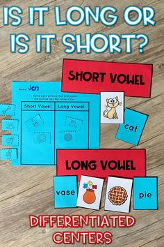 Here's a hands-on Long and Short Vowels sorting activity perfect for literacy centers and small groups! Picture and Text cards for easy differentiation. Reading Intervention, Reading Skills, Guided Reading, Teaching Reading, Learning, Word Work Centers, Literacy Centers, Reading Specialist, Short Vowels