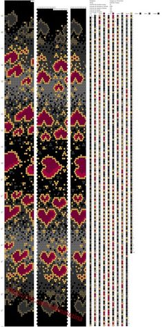 Hearts against a dark background make an interesting border Bead Crochet Patterns, Bead Crochet Rope, Beading Patterns, Beaded Crochet, Crochet Beaded Bracelets, Bead Loom Bracelets, Collar Circular, Bijoux Diy, Seed Bead Jewelry