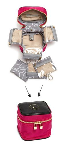 Great jewelry case -I'd totally use it for make-up! conveniently folds up into a nice little cube.