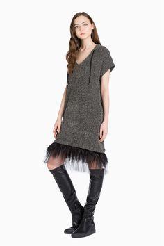 TWINSET Simona Barbieri :: О/З 16 :: Платья :: платье с перьями и тюлем :: KA62LR