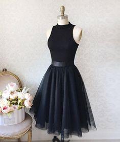 Cute Homecoming Dress,Black Homecoming Dress,Tulle High Neck Sleeveless Homecoming Dress,Simple Short Prom Dress,Homecoming Dress,