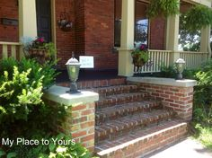 brick wall capped off beside the front steps. Great place for planter