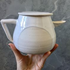 Cutout Teapot in french white. By Mia Schachter for Paperclip Pottery. @paperclippottery