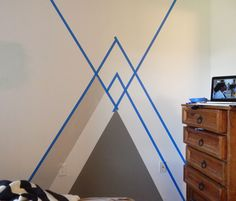 It's time for a geometry lesson- RAD House style. You may or may not have already seen my bedroom geometric wall detail in my Room Tour here. Bedroom Paint Design, Bedroom Wall Designs, Wall Decor Design, Diy Design, Painters Tape Design, Geometric Wall Paint, Room Wall Painting, Tape Painting, House Design