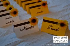Yellow Wedding, Place Cards, Company Logo, Place Card Holders, Orange, Ideas, Thoughts