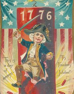 Free Printable Little Patriot Post Card - Victorian Americana art - Fourth of July craft and decor use