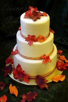 Fall Leaves Wedding Cake .. this site has tons of fall cake and cupcake ideas we could make ouselves