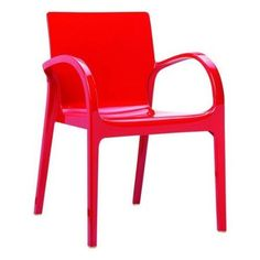 Compamia ISP032-GRED Dejavu Polycarbonate Armchair - Glossy Red - Set of 4 795.90