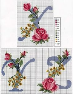 Alphabet with roses and yellow flowers - free cross stitch patterns crochet knitting amigurumi Cross Stitch Alphabet Patterns, Embroidery Alphabet, Cross Stitch Letters, Embroidery Monogram, Cross Stitch Rose, Cross Stitch Flowers, Cross Stitch Charts, Cross Stitch Designs, Stitch Patterns