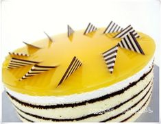 In a pot add mango puree, water, sugar and gelatin powder together and bring to boil till gelatin and sugar dissolved. - Recipe Dessert : Mango mirror cake...