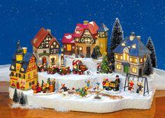 Keramik Lichthäuser Set Kleine Stadt, mit Häusern, Miniaturen, Podest