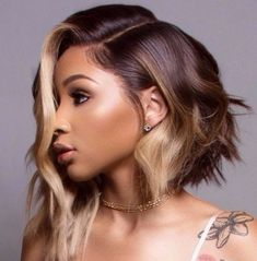 Brown-Ombre-Hair-Color Best Short Hairstyles for Black Women 2018 2019 - April 13 2019 at Brown Ombre Hair, Ombre Hair Color, Cool Hair Color, Black Ombre, Color Black, Black Women Hairstyles, Bob Hairstyles, Straight Hairstyles, Summer Hairstyles