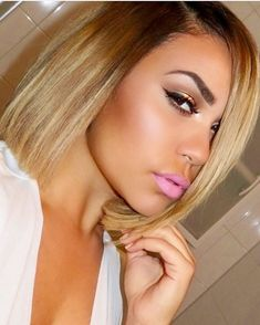 28 Most Flattering Bob Haircuts for Round Faces in 2019 - Style My Hairs Short Bob Hairstyles, Pretty Hairstyles, Curly Hair Styles, Natural Hair Styles, Blonde Bob Haircut, My Hairstyle, Love Hair, Hair Dos, Ombre Hair