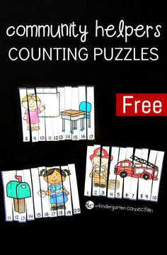 Work on number identification and counting to 20 with these fun and free community helpers counting puzzles! They make a great kindergarten math center or community helper activity! Community Helpers Activities, Community Helpers Kindergarten, Kindergarten Social Studies, School Community, Teaching Kindergarten, Kindergarten Math Centers, Preschool Learning, Counting Puzzles, Maths Puzzles