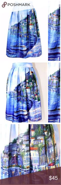 Blue Watercolor Italian Coast Sailboat Midi Skirt ‼️ PRICE FIRM UNLESS BUNDLED WITH OTHER ITEMS FROM MY CLOSET ‼️   Full Scene Skirt Size One Size  Retail $99     SPECTACULAR! Words can not describe how beautiful this skirt is. Beautiful & bold scenes. One size, waistband stretches to fit your waist. Side Zip. Half lined for the full feminine look. 100% polyester with a spandex elastic waistband. Please check my store for thousands more items including designer clothing, scarves, jewelry…