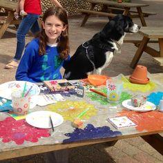 Daughter, Caitlin, & Sasha, studio dog !, enjoying making mosaics at Kelling Heath in Norfolk. Happy Creative Summer holidays!!