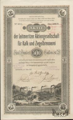 Muzeum cennych papiru A1015 Leitmeritzer Aktiengesellschaft für Kalk- und Ziegelbrennerei ( Litoměřické továrny na vápno a cihly, akciová společnost ) 1882