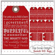 Red Christmas Gift Tags Bible Verse Isaiah by DigiScrapDelights