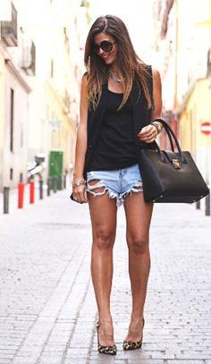 Denim & black