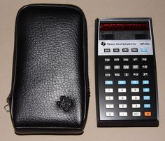 Vintage Texas Instruments Electronic Pocket Calculator, Model SR-50, Made in Holland, Red LED Display, Original Price = 169.95 USD, Circa 1974.