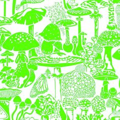 Mushroom City Designer Wallpaper in Ectoplasm 'Neon Green on Soft White' Trippy Wallpaper, Neon Wallpaper, Trippy Patterns, Fruit Fruit, Fruit Dessert, Fruit Dishes, Fruit Drinks, Fruit Snacks, Fruit Salad