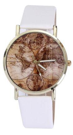 Vogue Elegant World Map Pattern Bracelet Wrist Watches Women Casual PU Leather White