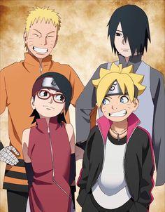 Naruto and Boruto with Sasuke and Sarada Uchiha Naruto Shippuden Sasuke, Anime Naruto, Sasuke Sakura, Manga Anime, Boruto And Sarada, Itachi, Naruto Team 7, Naruto Family, Naruto The Movie