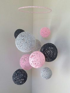 Hanging yarn ball room decor