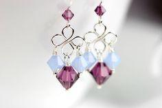 Araña azul y púrpura Pendientes alambre envuelto joyas plata de ley hecho a mano joyería cristal Swarovski hechos a mano lámpara pendiente