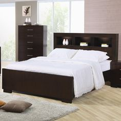 Coaster Jessica bed with storage headboard and built-in lighting -  200719Q