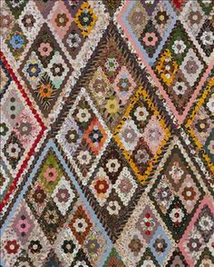 People's Collection Wales - Patchwork quilt featuring diamond pattern, c. 1870 [image 1 of 2]